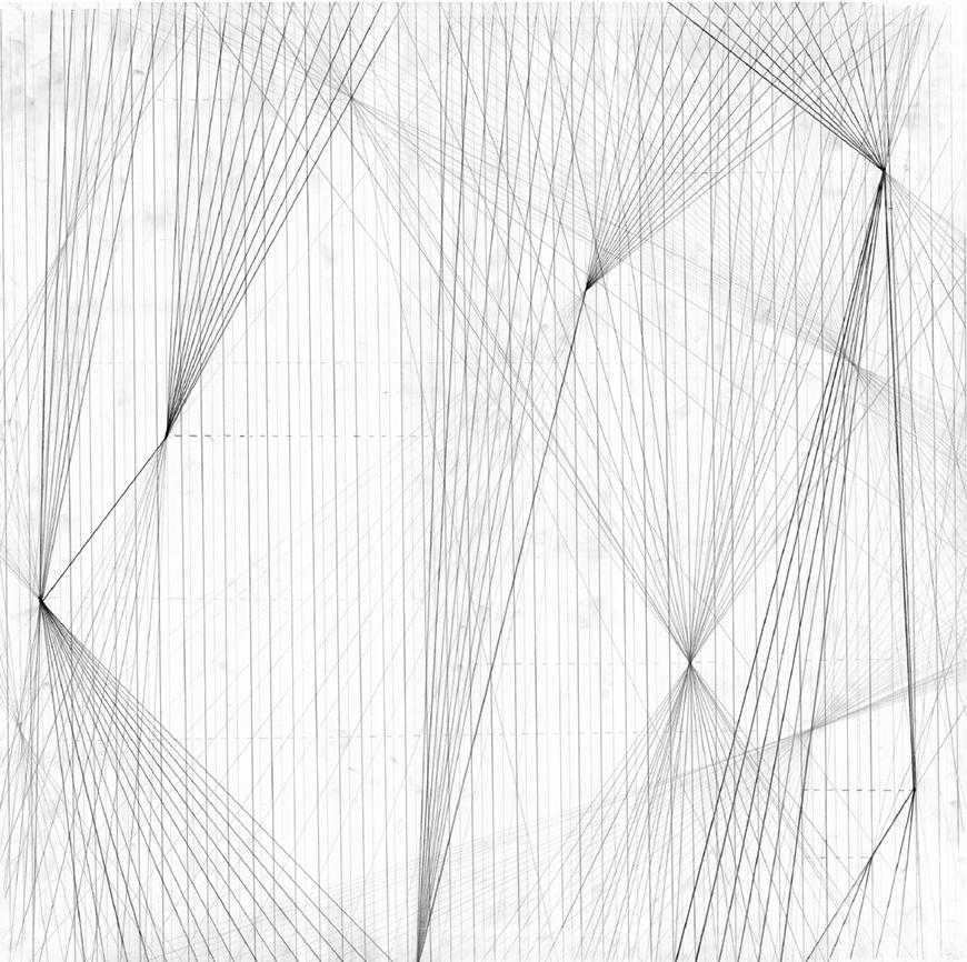 Hand-drawing of concept for 'transpiration' string model, with straight lines generating different senses of density, translucency and perspective.