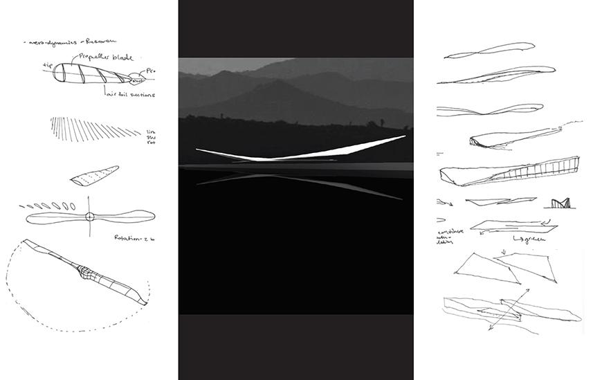 Conceptual render in black and white, with sketches showing aviation details