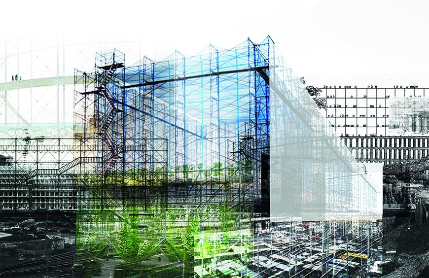 Collaged conceptual render using photographs of scaffolding to propose rectangular space made of scaffolding.