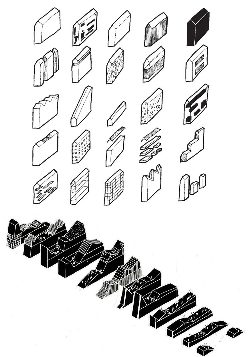 Diagrammatic drawing of different building or structure typologies, and of each of the different sectional profiles of each band, or layer of the project, drawn as solid black masses with white lines delineating them or densifying to form textures, details and surface qualities.