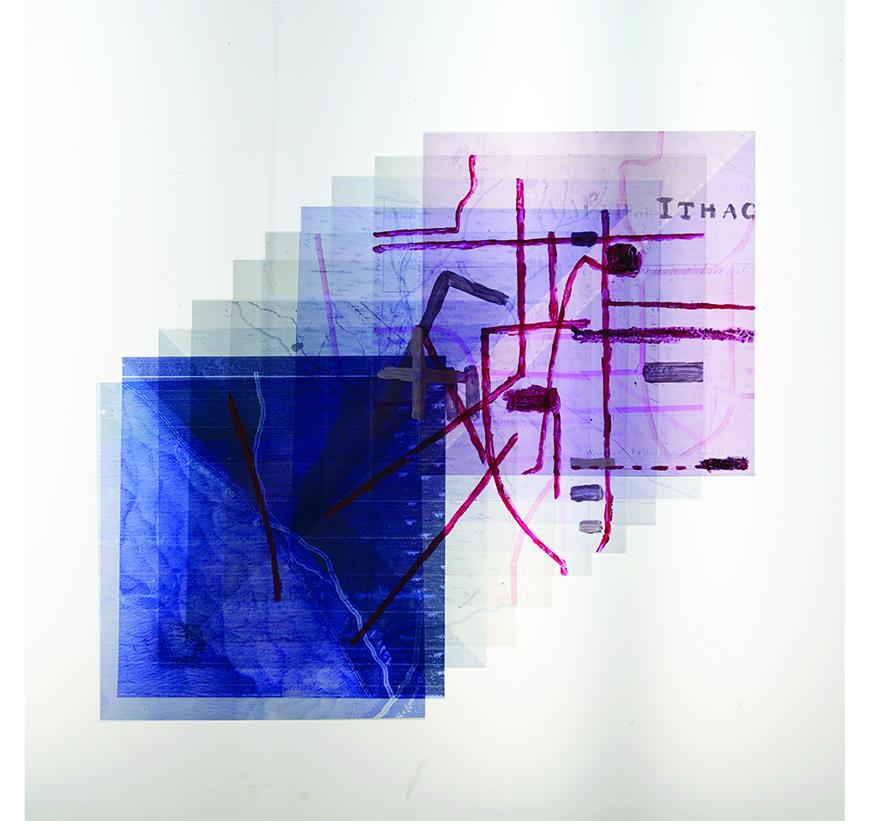 Collaged image of several transparencies in blue and magenta tones with very diagrammatic, hand-drawn map-like images withthe word 'Ithaca' on them.