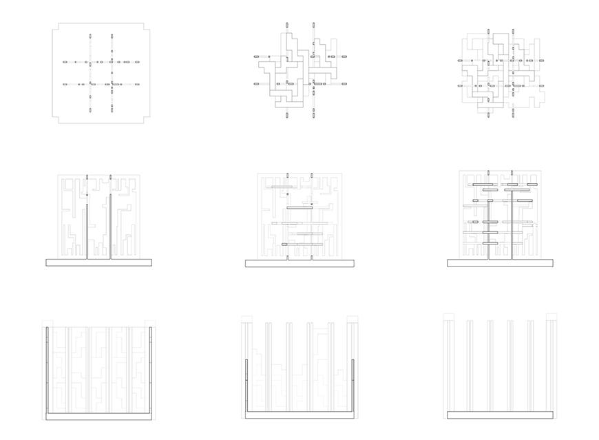 black and white drawings of various square and cube figures