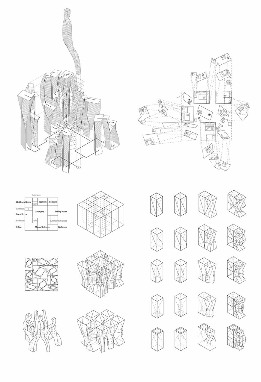 Axonometric and plan drawings.