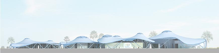 Rendered elevation of white canopied structure
