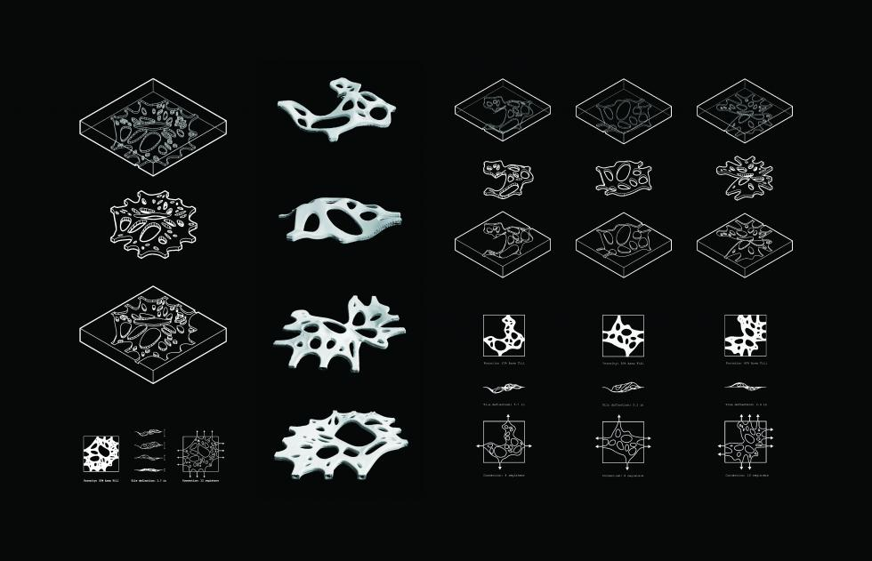 White axonometric drawing on black background showing two-part molds of membrane-like clay tiles and resulting pieces.