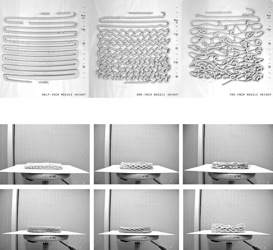 Series of black and white images showing results of 3d print tests with clay, using different parameters, seen from above and as an elevation.