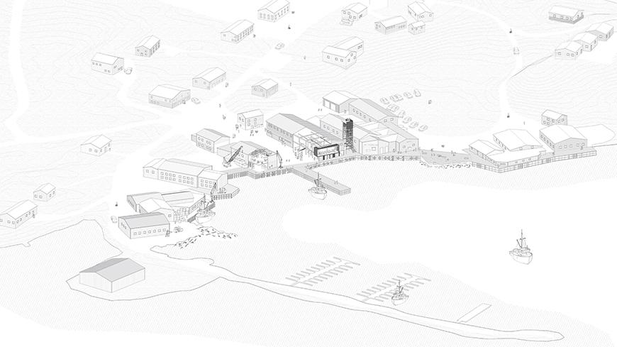 Axonometric drawing of project and site from aerial perspective.