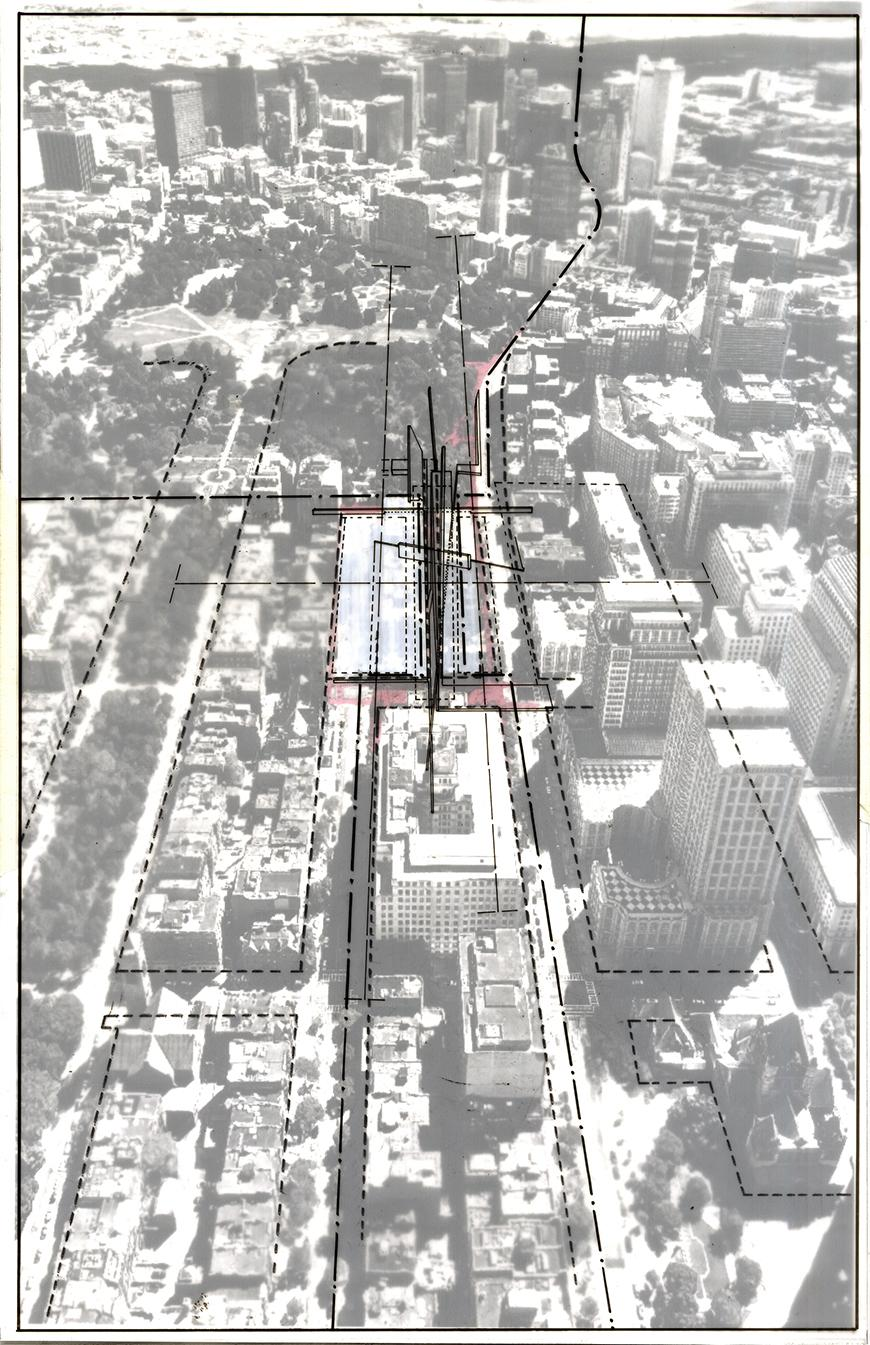 Composite drawing over aerial photograph of Boston.