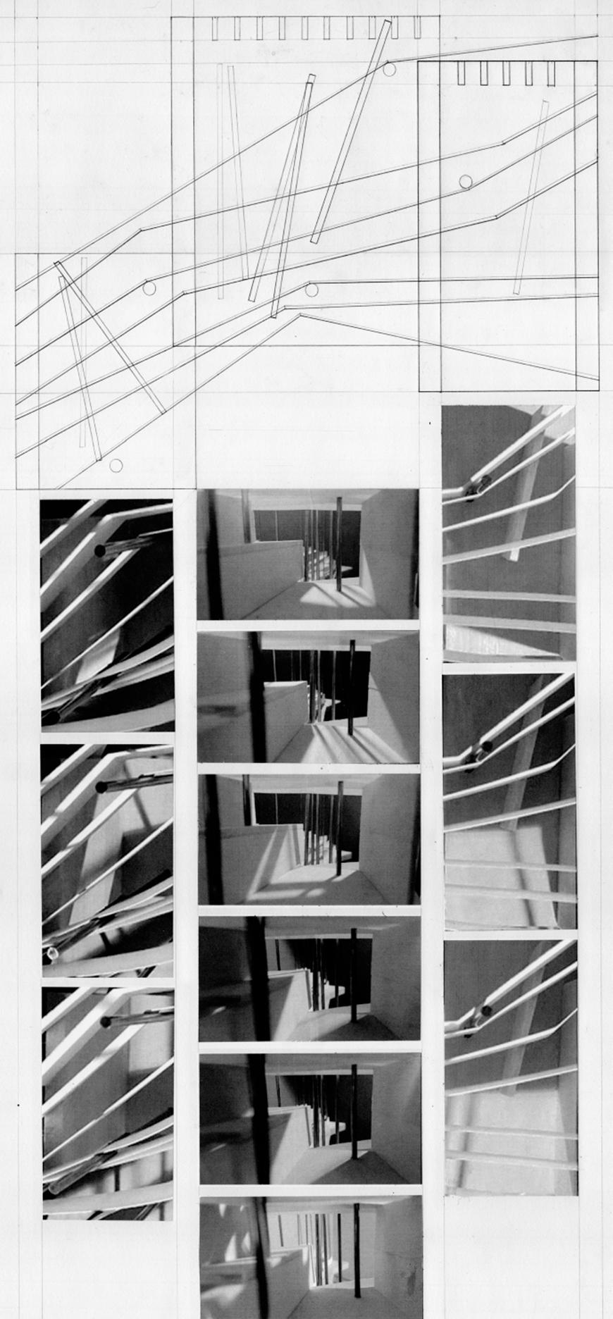 Composite image of working drawing and set of black and white photographs of model details.