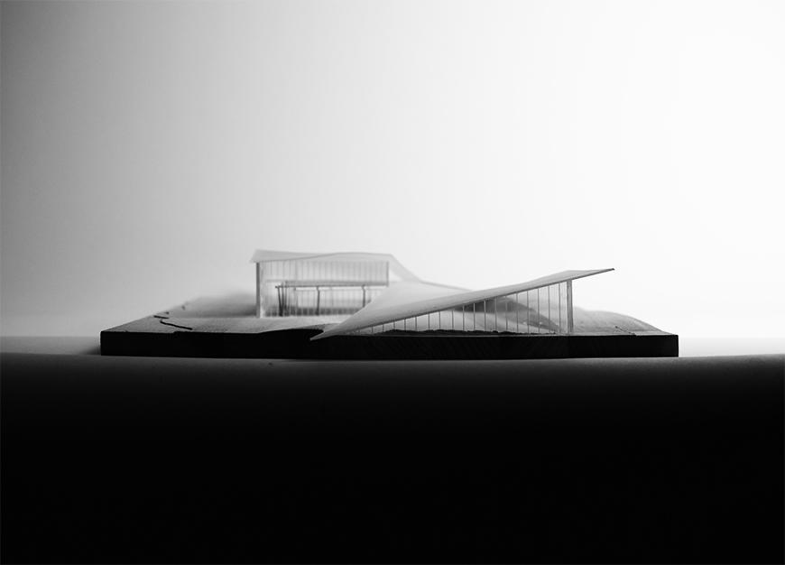 Black and white photograph of project model.