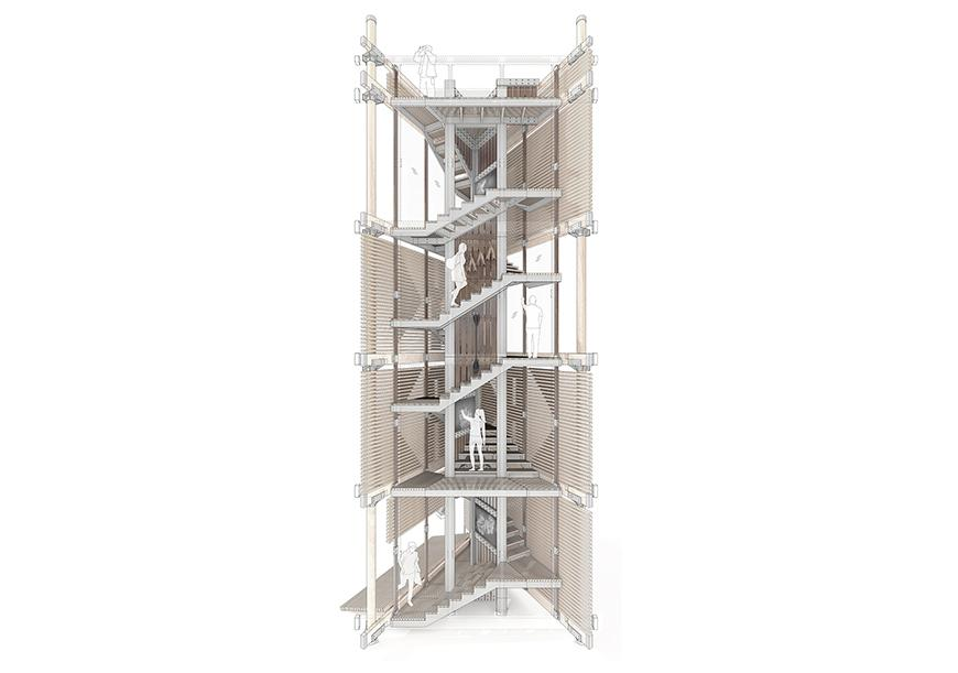 Rendered section drawing showing interior of triangular tower with staircase.