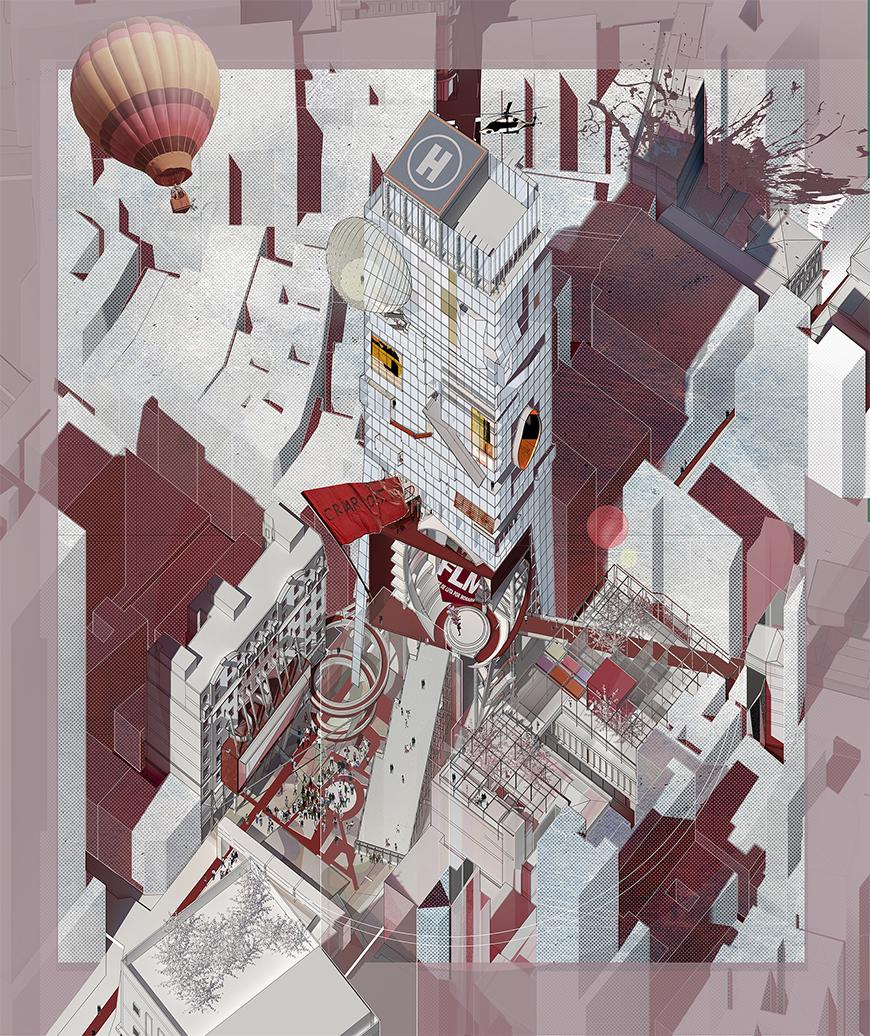 Axonometric drawing toned with red and gray colors and textures of different shades.