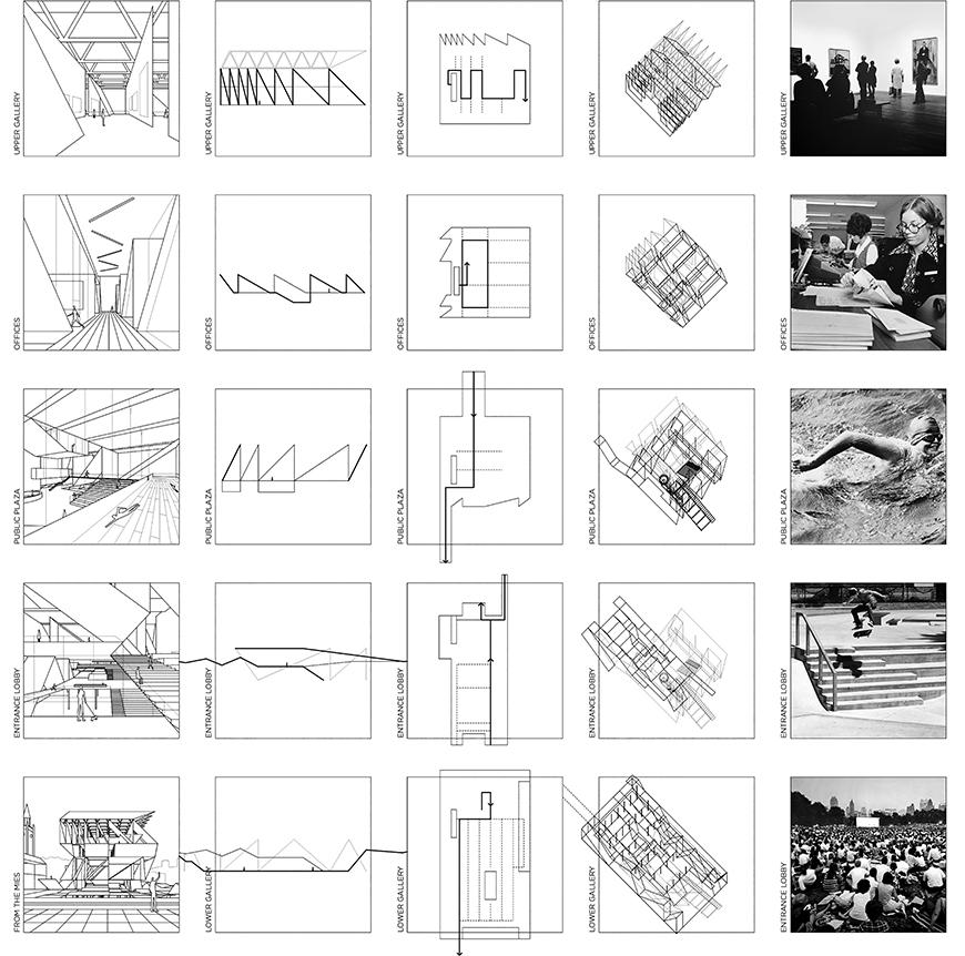 Five by five grid of squares showing perspectival views in one column, section profiles in the second, plans and circulation in the third, axonometric drawings in the fourth, and black and white photographs representing program in the fifth row.