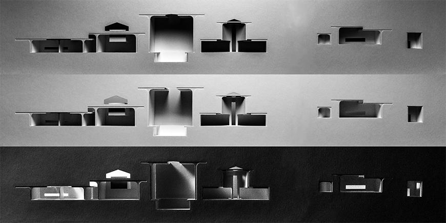 Three photographs of light-study models made out of white chipboard and paper materials showing section-cuts through proposal, each