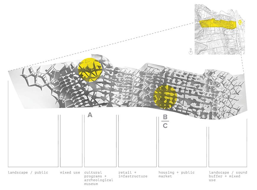 Top view of the project rendered in matte-white material showing location of it on site and identifying the different segments of morphological conditions.