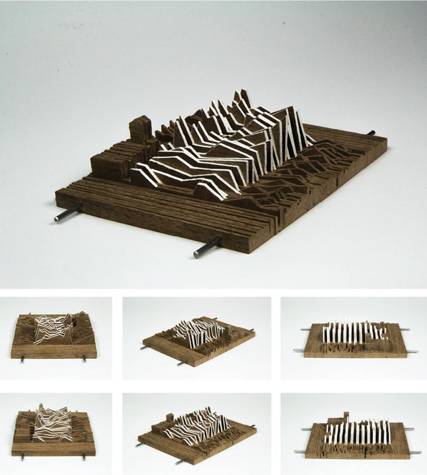 Photographs of model made from vertical strips of chipboard stacked together to form a topological mass, strung together by two metal rods, with a portion in the center showing more extreme angular profiles having strips of white paper bridging between the chipboard.