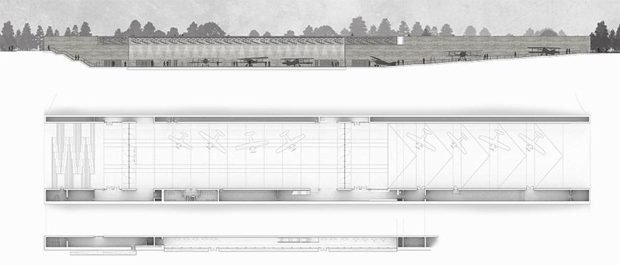 Drawings of plans and sections with gray tones and figures of planes and humans.