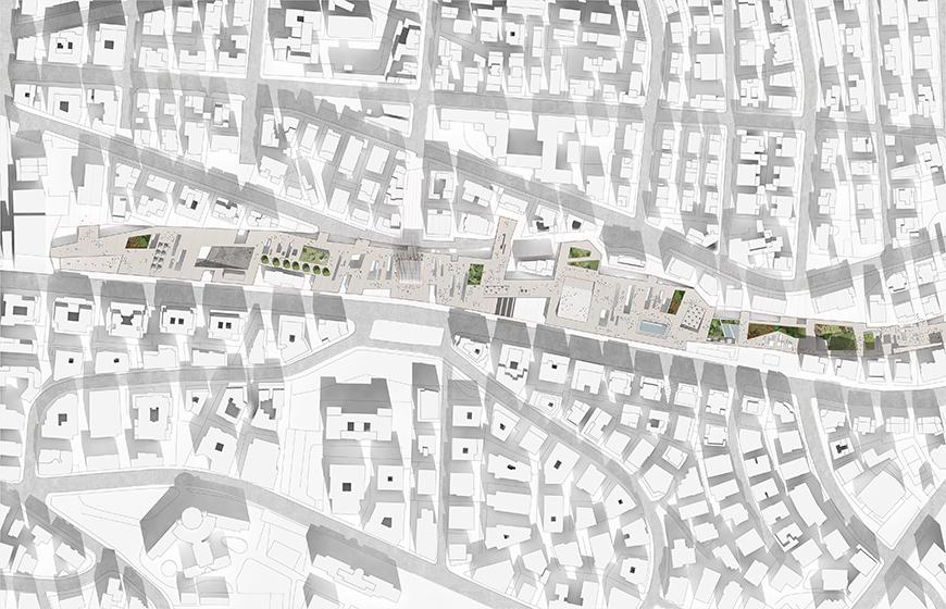 Plan view of the project with shadows rendered in, the surrounding urban fabric in white, and the project strip of urban tissue in light grey, showing textures and vegetation.