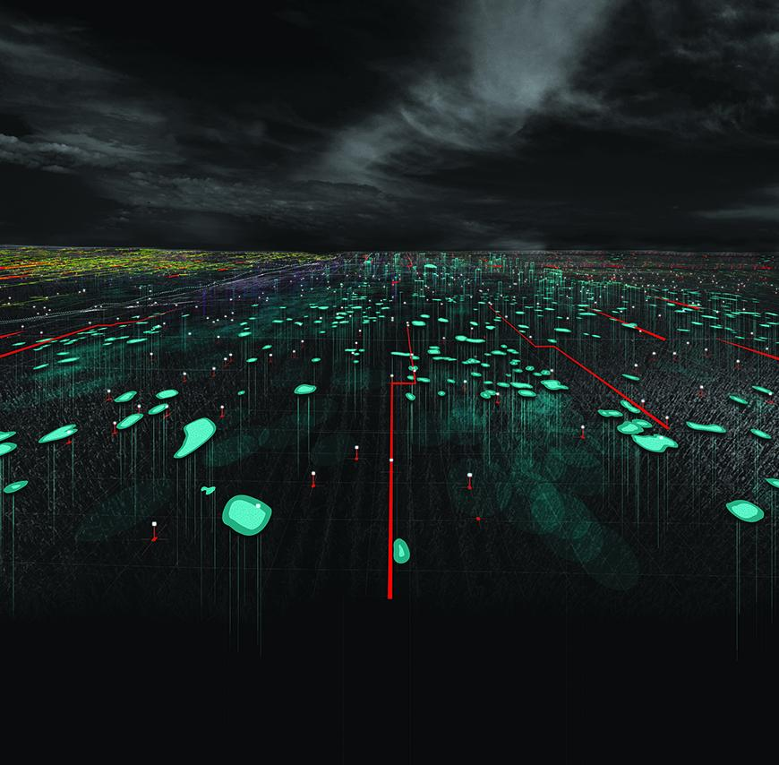 Dark render image of cultivation fields, almost black, with green, glowing elements, markings, and points.