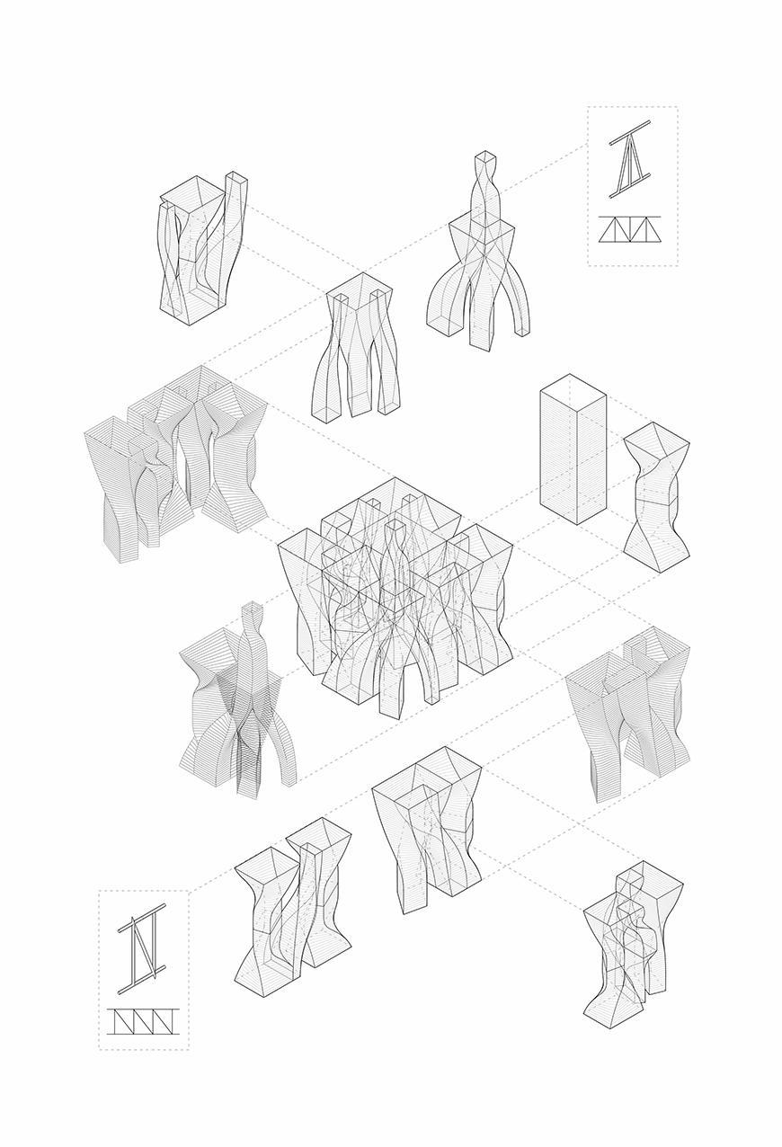 Axonometric drawing.