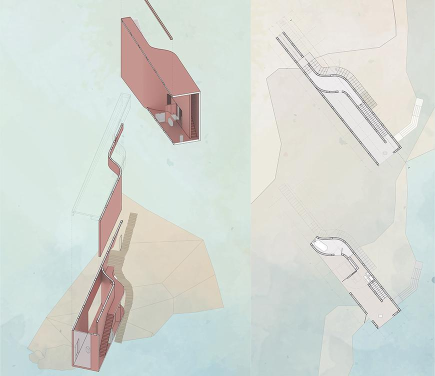 Axonometric drawing and plan.