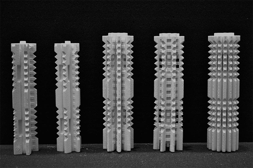Photograph of 3D prints of 5 proposed column joints.
