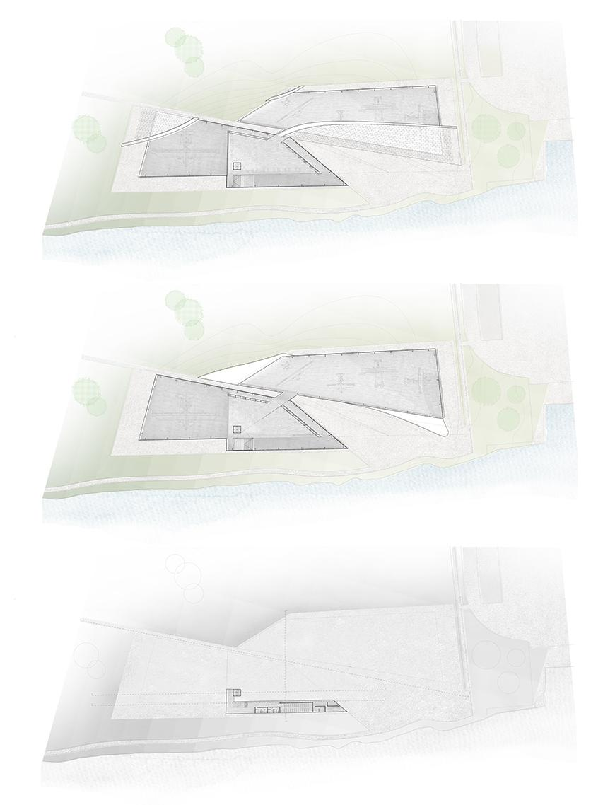 Three plans of project toned to show material and landscape.