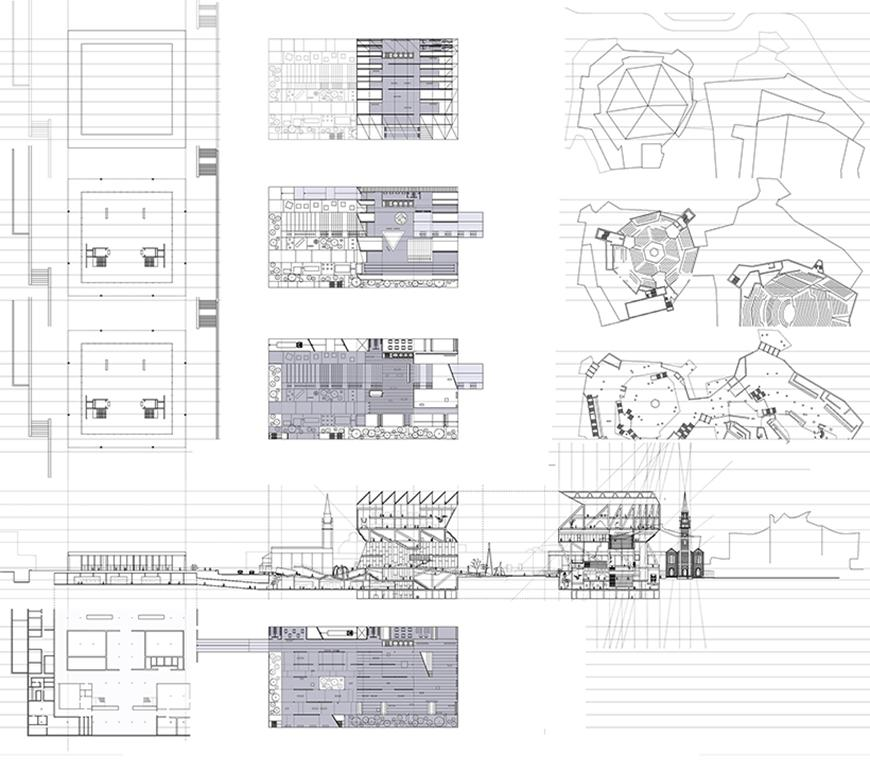 Set of drawings showing plans layered on top of and under section drawing of project with purple tone showing the interior of the project.