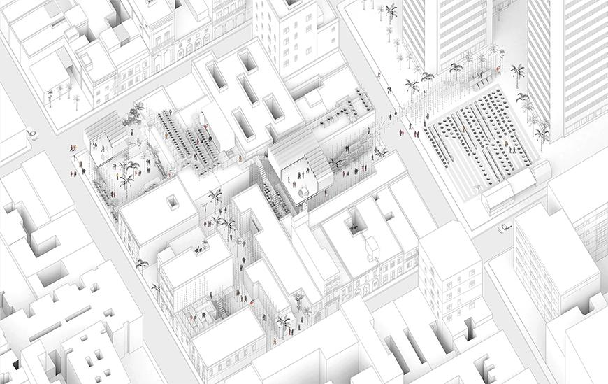 Axonometric drawing of proposal inside the intersitital spaces between buildings in the center of Havana.