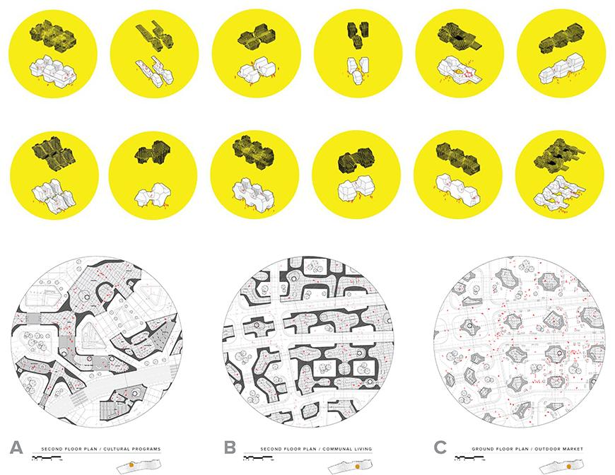 Set of 12 diagrams each with a black and a white drawing within a solid yellow circular frame showing different morphological conditions for the project.