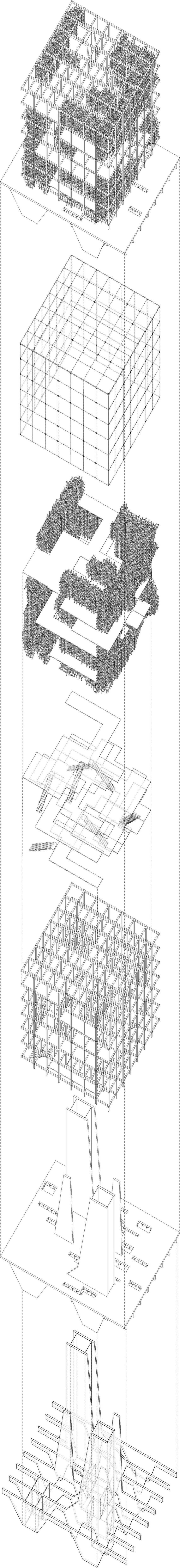 Exploded axonometric drawing showing seven building components and building systems of the project.