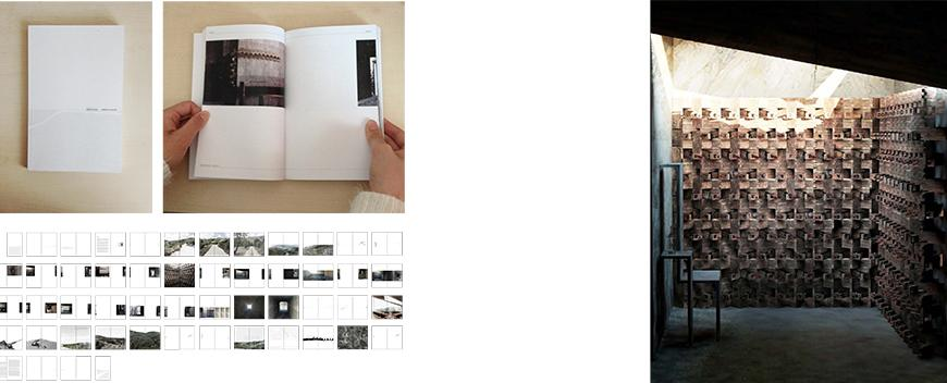 On left images of a book on a wooden surface, open and closed, as well as an array of the image files for each page, and on the right a render or photograph image from one page.