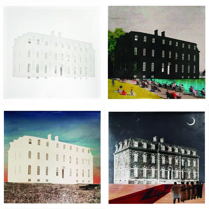 Four collaged images showing the same image of a builiding in different environments and contexts.