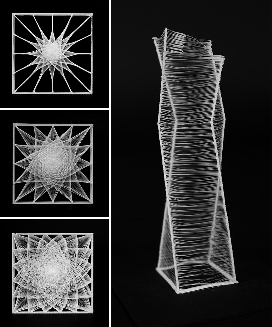 Photograph of 3D-printed study model with thin fibers forming geometric patterns when seen from above.
