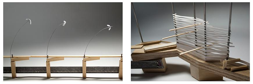 Two photographs of different parts of the model: one an elevation view of a board-walk or bridge made of basswood with thin steel rods capped by small pieces of paper delicately bending over, and the second one an aerial view of a part of the model in which the paper ribbons are densely wound and woven around four steel rods, generating a mass.