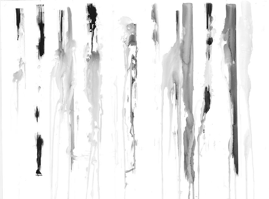 Image of drawing produced by machine, consisting of different tones of gray and black marks made with ink made in generally vertical strokes.