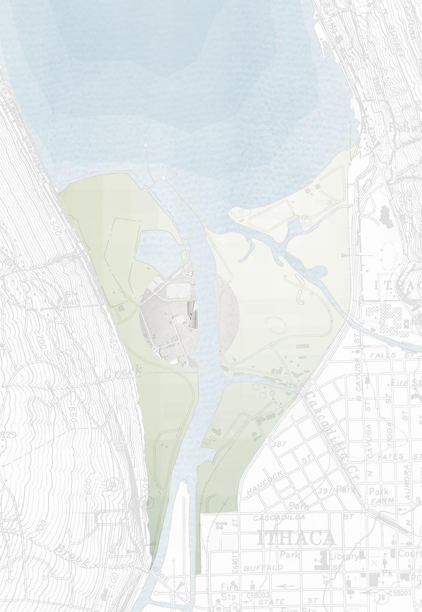 site plan showing Cayuga lake and the inlet, with gray circle showing the area of the intervention