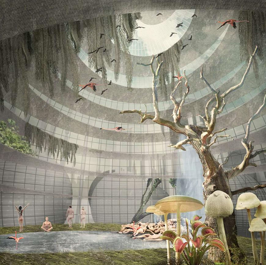 Rendering of a circular building with a tropical habitat inside