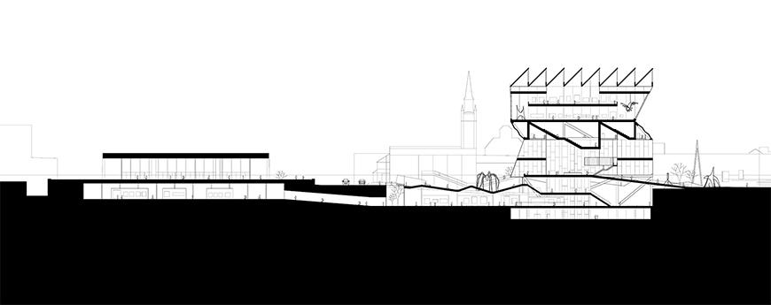 Section drawing through proposal with ground toned in black and city context drawn lightly in the background.