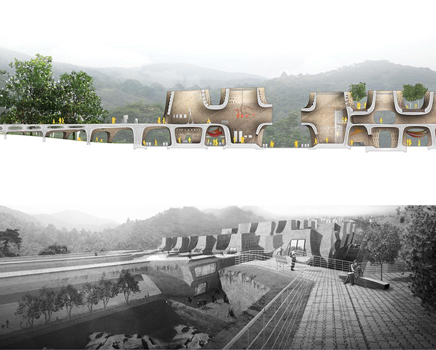 On top half: section drawing with rendered materials and textures, yellow silhouettes of human figures, and photographs collaged in for vegetation and for the green, misty, hilly background; and on bottom half: black and white render of project from point of view of an elevated walkway looking uphill at the rising topology of building units and the hills in the background.