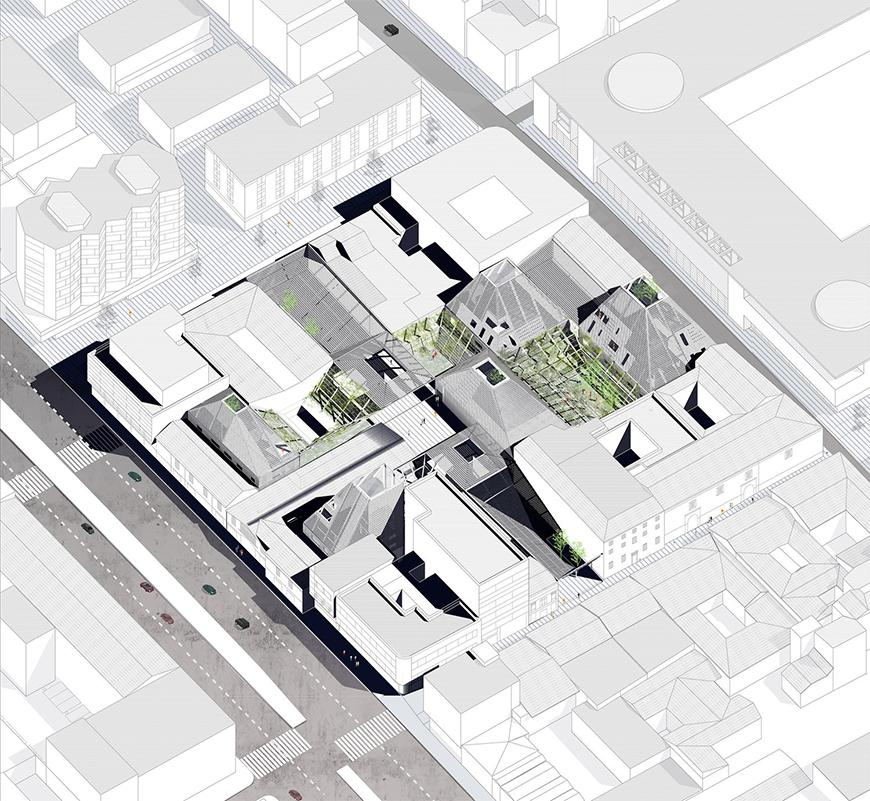 Axonometric drawing of proposal rendered  with site and context in white and lightly shaded by light gray tones