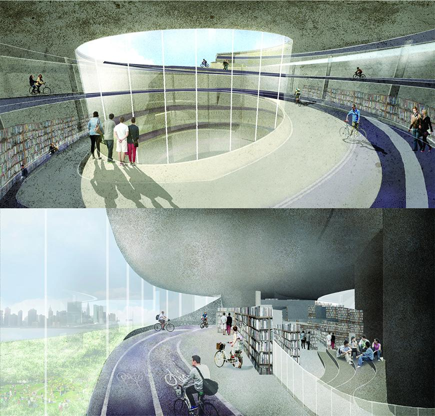Two renders of interior spaces in the project showing bike pathways, human figures, concrete textures for the walls and ceilings, and the presence of books and library program integrated with the bike path program.