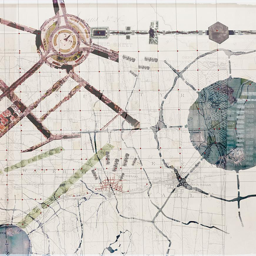 Collaged drawing made from parts of maps.