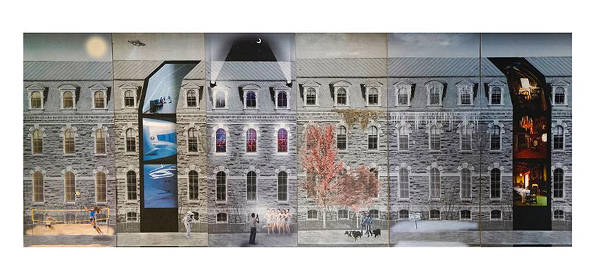 Collaged drawing showing different programmatic elements in the form of photographs sliding in and out of papaer sections of the photograph of a facade.