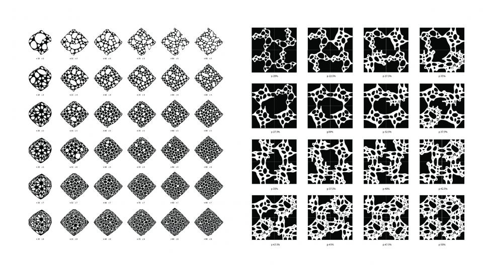 Several drawings and renders of individual and grouped tiles, showing different levels and variations of porosity.