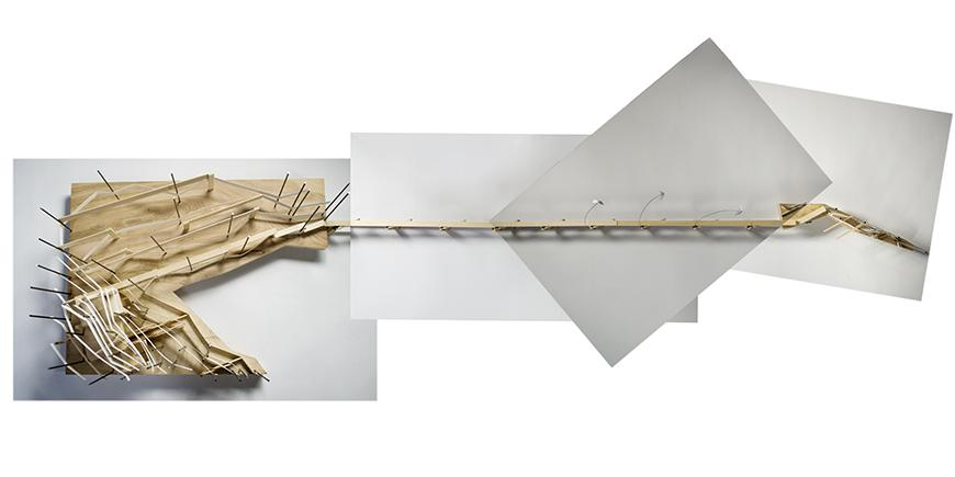 Composite photograph of model made of milled wood with basswood walkway, and paper woven along steel rods.
