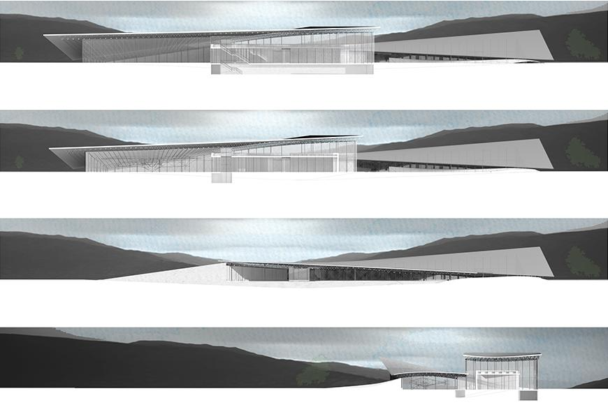 Four rendered sections showing the cut-through land mass with hills in background.