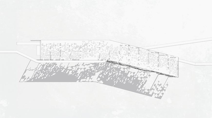Plan drawing of project showing projected shadow generated by the perforated cladding and facade.