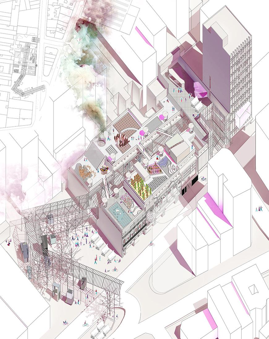 Axonometric drawing toned with purple, pink, and magenta textures of different shades.