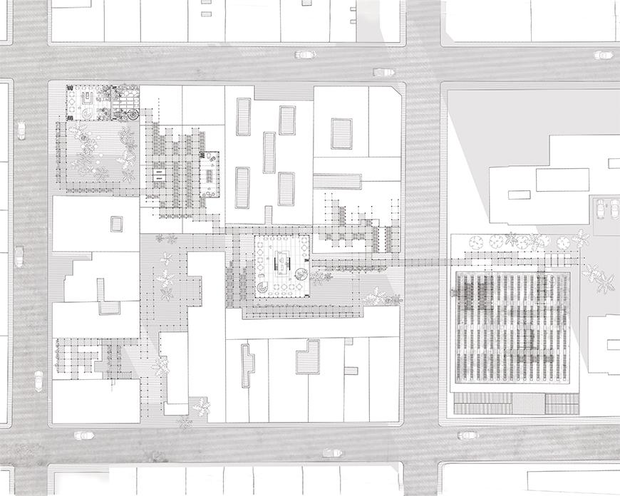 Plan drawing with streets toned darker showing a city block in which the project is proposed.